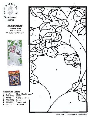Free Stained Glass Pattern 2300-Hummingbird