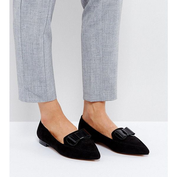 ASOS LATTER Wide Fit Loafer Ballet Flats ($29) ❤ liked on Polyvore featuring shoes, flats, black, slip on loafers, black flats, black ballet shoes, black loafers and black slip-on shoes