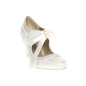 Amber Lace Shoe With Ribbon Wedding
