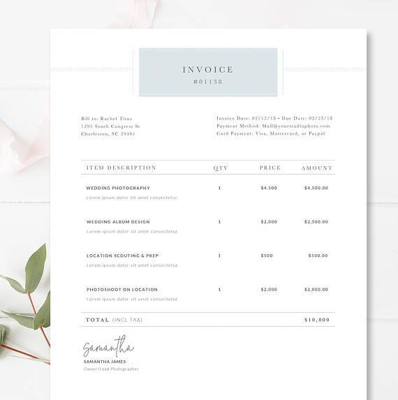 Photographer Invoice Template  Invoice Design  Receipt Template
