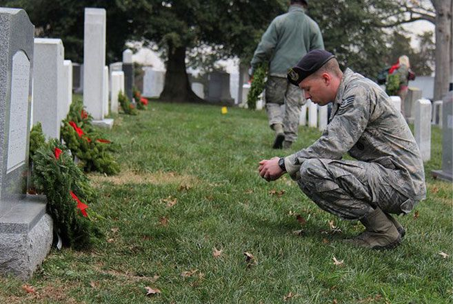 Wreaths Across America   Our Mission: Remember   Honor   & Teach www.wreathsacrossamerica.org ... Sponsor a wreath at Arlington National Cemetery...Honor Local Heroes Within Your Community....learn further details via the official site for Wreaths Across America ...December 13, 2014, Saturday, is National Wreaths Across America Day