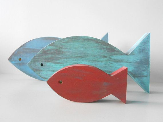 Nautical Home Decor -  Distressed wooden fish decor for home, nursery via Etsy