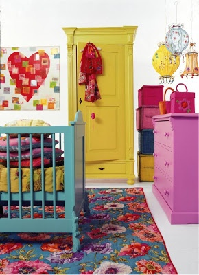 For My Boho Baby Girl. LOVE the bold floral rug & aqua painted crib & painted dresser & armoire.