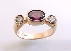 Garnet With Diamonds 14kt Ring