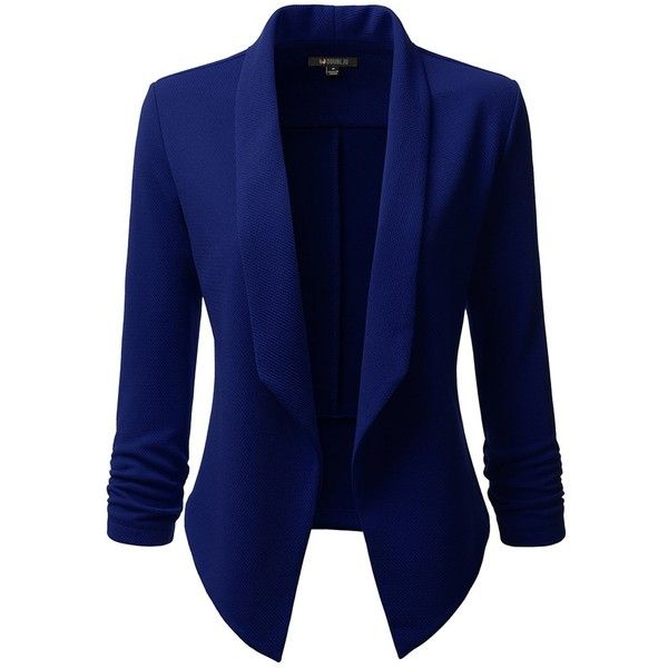 Doublju Classic Draped Open Front Blazer For Women With Plus Size ($26) ❤ liked on Polyvore featuring outerwear, jackets, blazers, blue jackets, blazer jacket, blue blazer, drapey jacket and plus size blazers