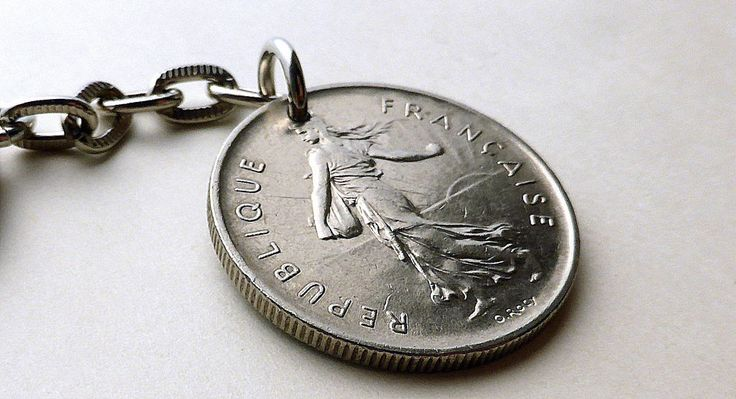 French, Coin keychain, Coins, Vintage keychain, Men's accessory, Oscar Roty, Gifts for him, French coin, Vintage coin, Upcycled coin, 1971 by CoinStories on Etsy