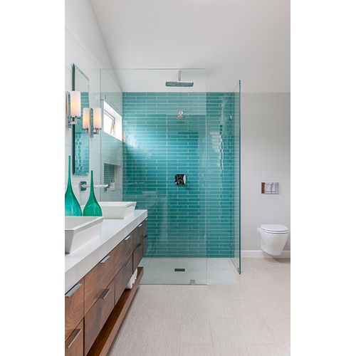 house of turquoise christine sheldon design love this pop of turquoise in the shower tile