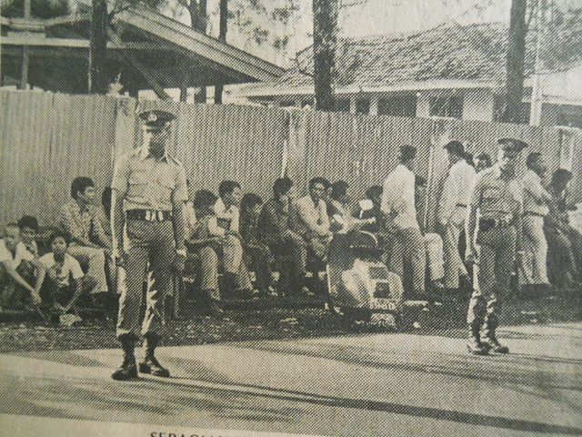 Indonesia - Thursday, June 7th, 1979 PPD bus hundreds of employees on strike, demanding holiday allowance, outside Cipete pool.