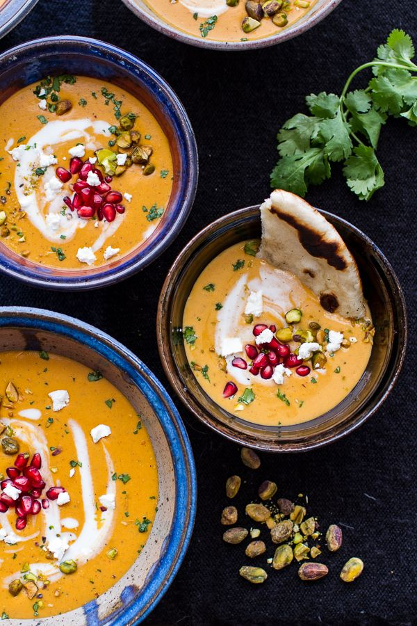 Moroccan Butternut Squash and Goat Cheese Soup w/Coconut Ginger Cream + Pistachios | halfbakedharvest.com