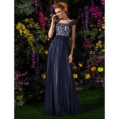 Lanting+Bride®+А-силуэт+Большие+размеры+/+Миниатюрный+Платье+для+матери+невесты+В+пол+Короткий+рукав+Кружева+/+Тюль+-+Бусины+/+–+RUB+p.+7+188,28