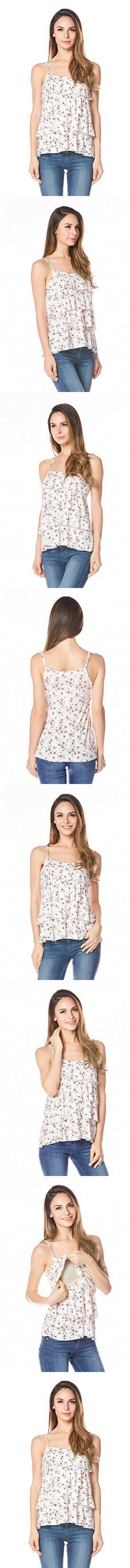 Bearsland Women's Maternity Nursing Tank Top and Cami Shirts,Pink/White,Medium