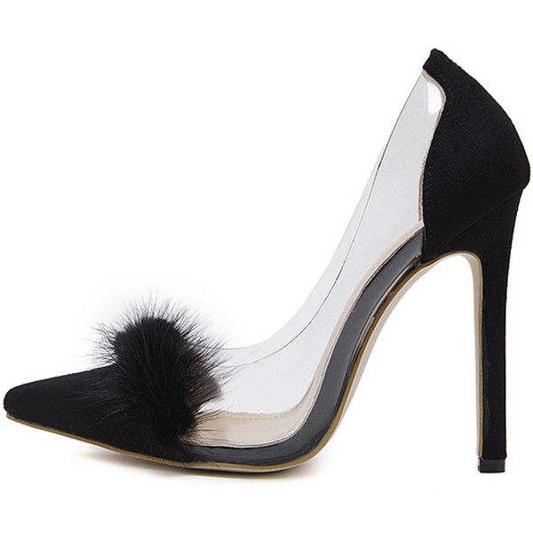 Black Clear Faux Fur Pointed Toe Stiletto High Heels ($39) ❤ liked on Polyvore featuring shoes, pumps, black flat shoes, black stilettos, pointed toe flats, pointed toe pumps and black pointed flats