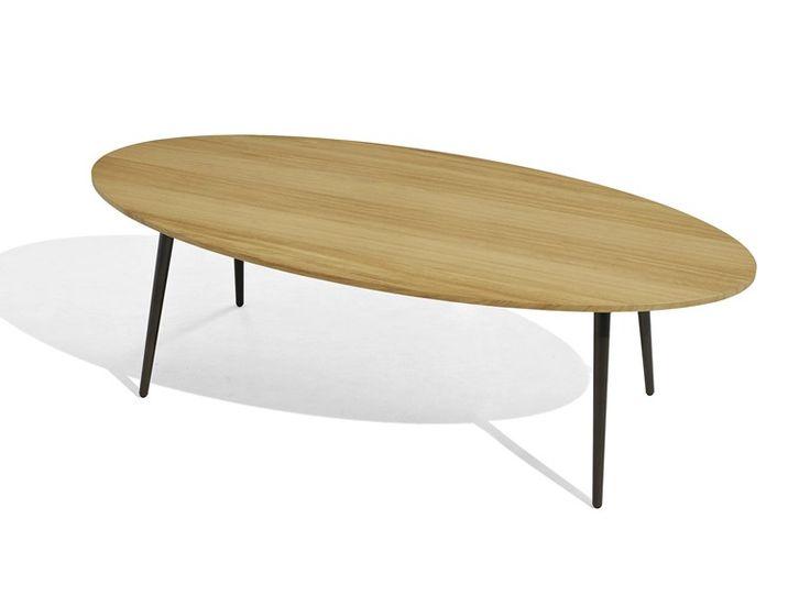 Tavolino basso da giardino ovale in iroko VInt Collezione Vint by Bivaq | design Andrés Bluth