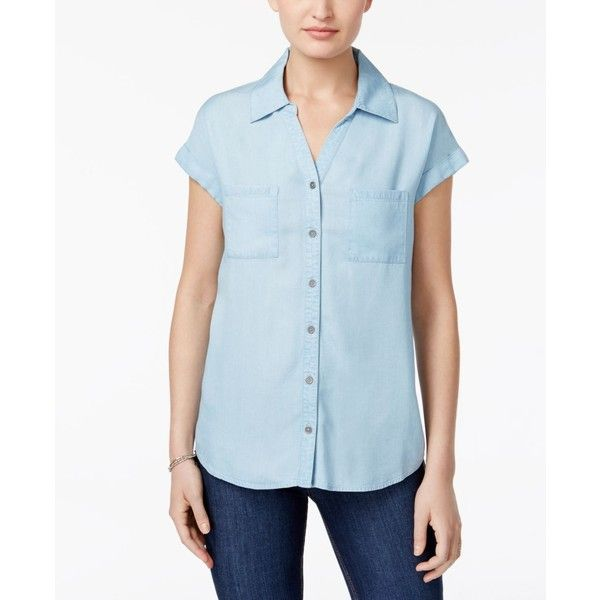 Style & Co Short-Sleeve Denim Shirt, ($23) ❤ liked on Polyvore featuring tops, ice wash, short-sleeve shirt, denim button up shirt, blue denim shirt, short sleeve shirts and short sleeve denim shirt