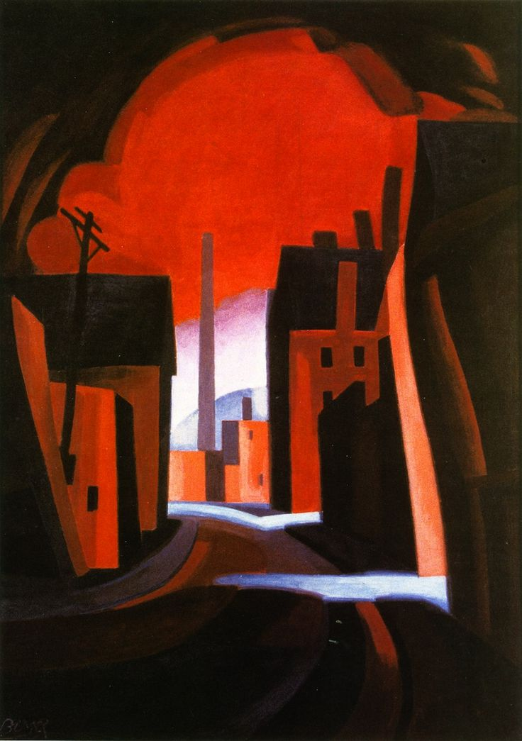 A New England Town - (also known as Red Night) Oscar Bluemner -1929 - Tempra on Panel. New Jersey State Museum