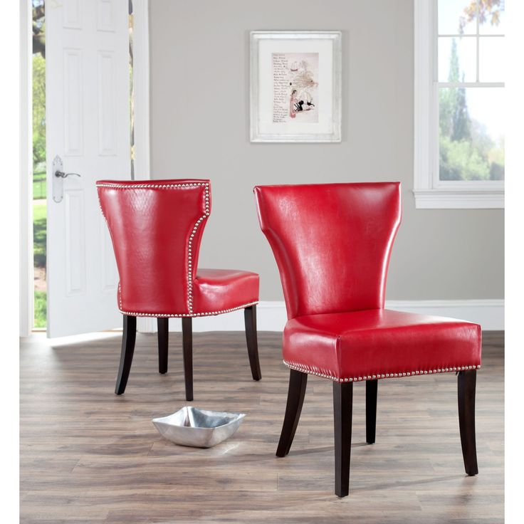 Safavieh En Vogue Dining Matty Red Leather Nailhead Chairs Set Of 2 By