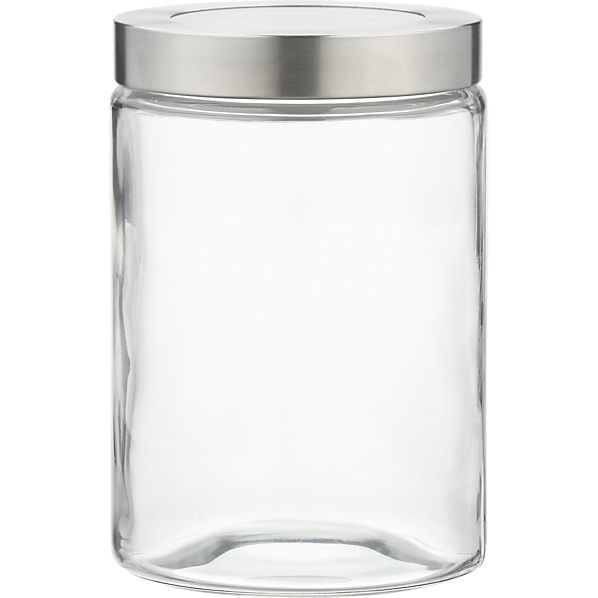 Small Glass Storage Container with Stainless Steel Lid  | Crate and Barrel