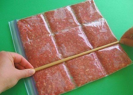 Partitionnez votre viande haché de la sorte pour ne décongeler que la quantité nécessaire.