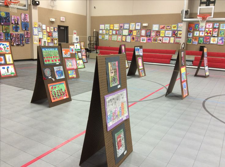 Made these 4.5 foot tall, double-sided displays for our annual art show for $14 each.  Tied them together with twine and hung art with tape.  Easy, lightweight, they fold flat, durable....run to Lowes right now!