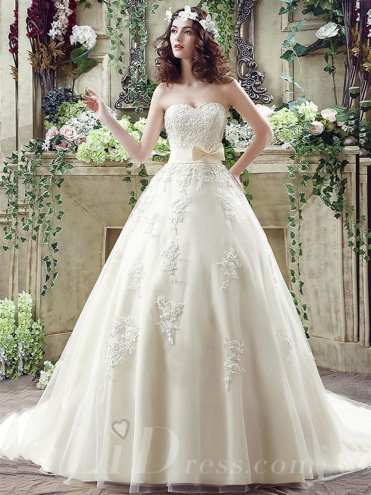 Newest+Sweetheart+Lace+Appliques+2016+Wedding+Dress+Bowknot+Sweep+Train