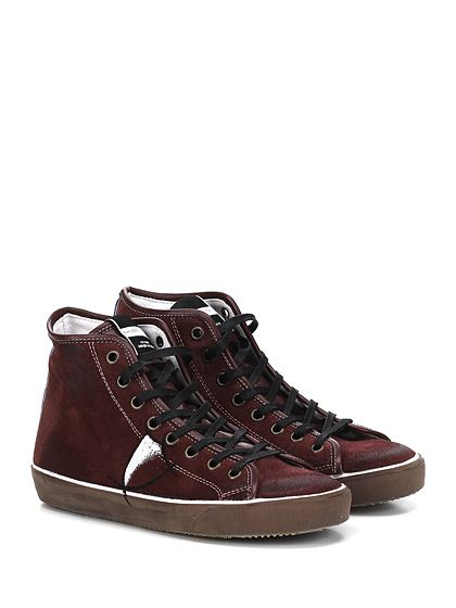 PHILIPPE MODEL PARIS - Sneakers - Uomo - Sneaker in camoscio effetto spazzolato vintage con logo dipinto su lato esterno. Suola in gomma effetto vintage, tacco 25. - BORDEAUX - € 206.00