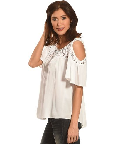 Bila Women's Crochet Lace Cold Shoulder Top - Country Outfitter