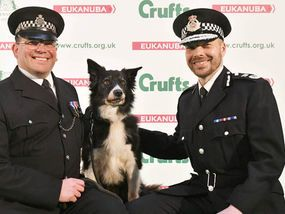 MOJO the hero police dog got a rousing ovation when he was given a prestigious Crufts award – and even his fellow canines joined in the congratulations.