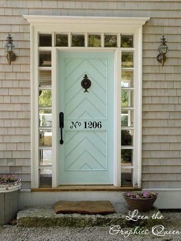color combination & chevron door...windows around the door. I'm in love with a door