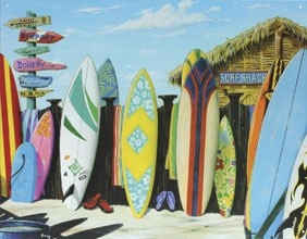 Surf Shack Surfboards Metal Tin Sign  #californiaseashellcompany   (http://www.caseashells.com/surf-shack-surfboards-metal-sign/)