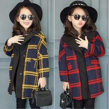 2015 kış yeni stil bebek kız moda uzun yün palto küçük kız sıcak kabanlar(China (Mainland))