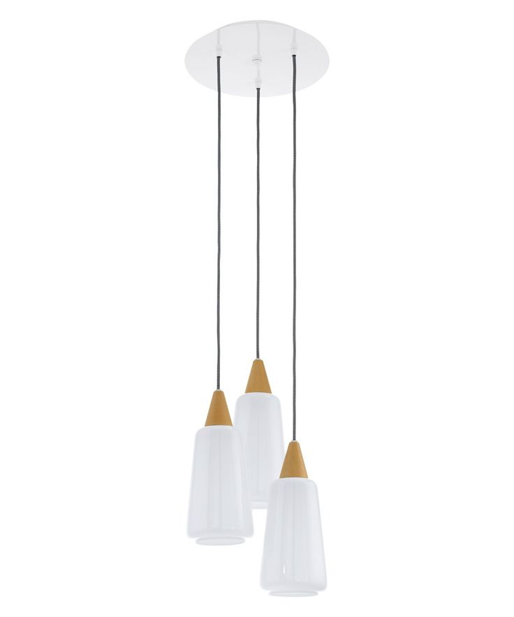 Pentone 3 light pendant with opal glass shades, ashwood finial and white ceiling canopies