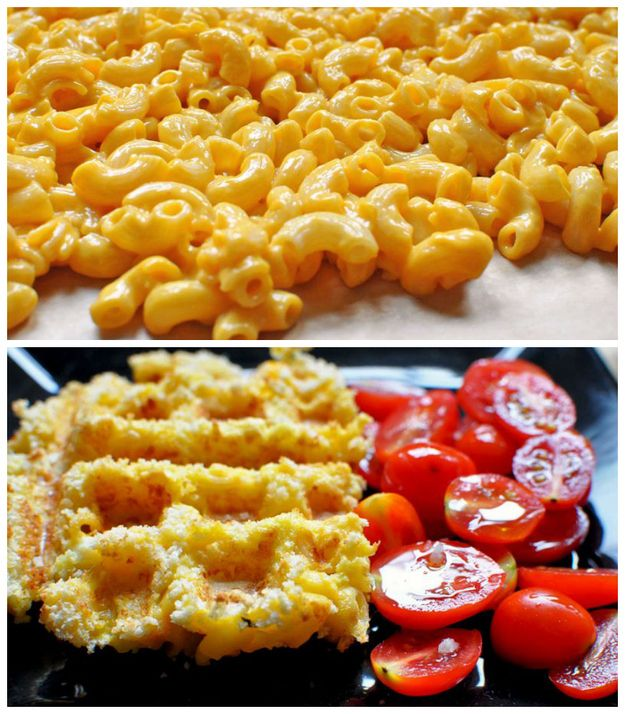 We've done the hash browns and cinnamon rolls (we also did pizza but with biscuits on each side).  But mac and cheese?  This might need to happen. Macaroni and Cheese | 17 Unexpected Foods You Can Cook In A Waffle Iron