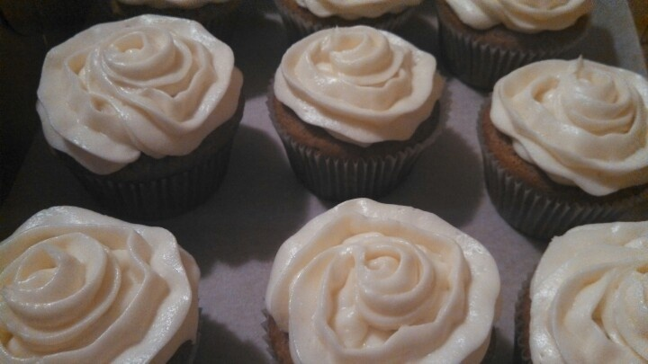 Pumpkin cupcakes with cream cheese frosting. Classic, but tasty!