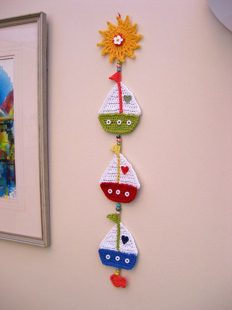 """Sail Away"" crochet Decoration by bunny mummy, via Flickr - Never been a fan of crochet on the wall, but this is too cute."