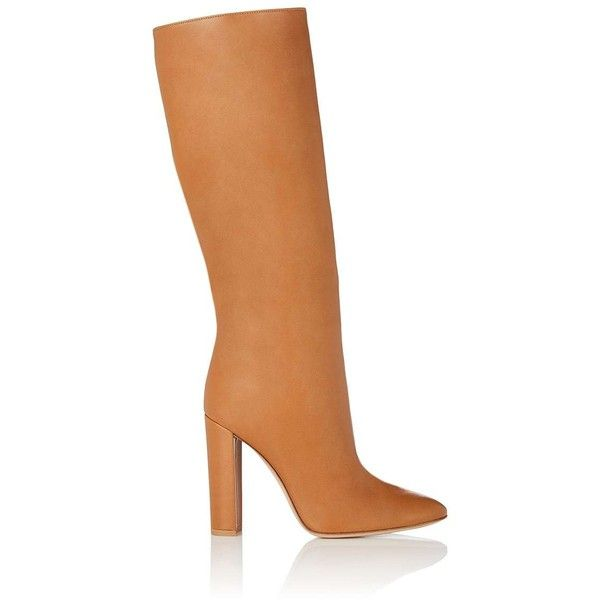 Gianvito Rossi Women's Leather Knee Boots ($1,625) ❤ liked on Polyvore featuring shoes, boots, tan, slouchy leather boots, tan leather knee high boots, leather knee high heel boots, tan boots and knee high boots