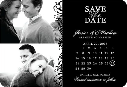 Save the Date Magnets Exquisite Style - Front : Black