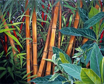 paintings bamboo | Bold Botanical Acrylic Painting: Painting of Tropical Plant by Carol ...