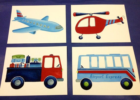 Brody Transportation boys art, childrens kids wall art, airport cars trucks airplanes red helicopter art prints