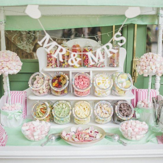Wedding table decoration ideas – candy buffet