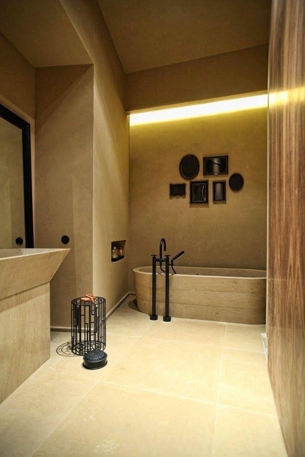 false ceiling LED lights: bathtub in okra color with LED lighting