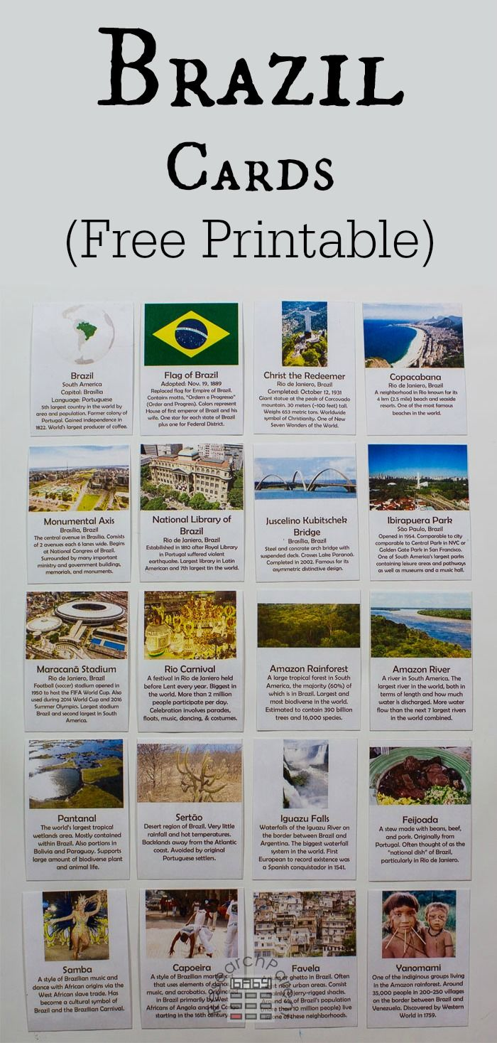 Brazil printables for a geography lesson!