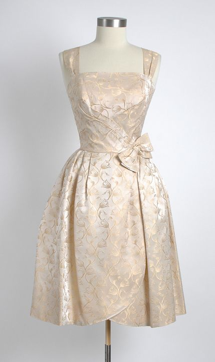 Will Steinman 1950's Damask Cocktail Dress: 1950S Cocktails, Dresses Cocktails, Cocktails Dresses, Vintage 1950S, 1950S Dresses, 1950S Gold, Damasks Cocktails, 1950 S, Vintage Clothing