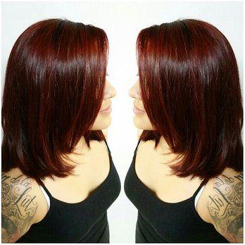 Deep burgundy red hair color on shoulder length layered haircut | Yelp