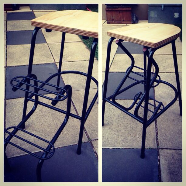 Re furbed stool with hinged foot rest. Found this beaten up stool in a hard waste collection and saw the potential