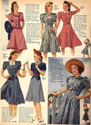 40's dress illustration print ad color red blue grey