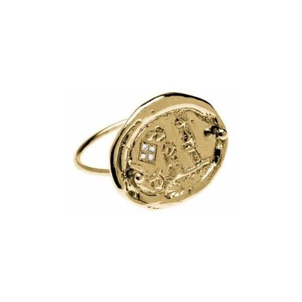 ELI-O - The Zevgari Ring in Gold (67.585 RUB) ❤ liked on Polyvore featuring jewelry, rings, yellow gold band ring, gold coin ring, white gold rings, thin band rings and 18k gold ring