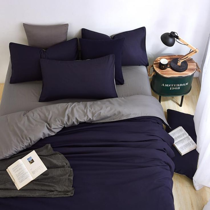 Summer New Minimalist Bedding Sets Ink blue Colour Duver Quilt Cover Bed Sheet Gray Pillowcase Soft Comfortable King Queen Full-in Bedding Sets from Home & Garden on Aliexpress.com | Alibaba Group