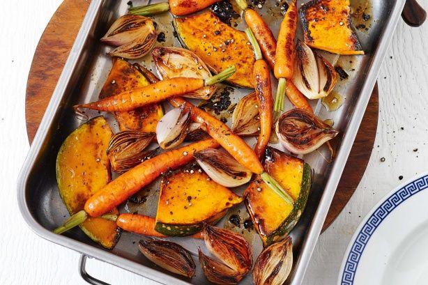 Maple-roasted pumpkin and baby carrots - Serve this tasty vegetable side with your favourite roast meat for a feel-good family meal.