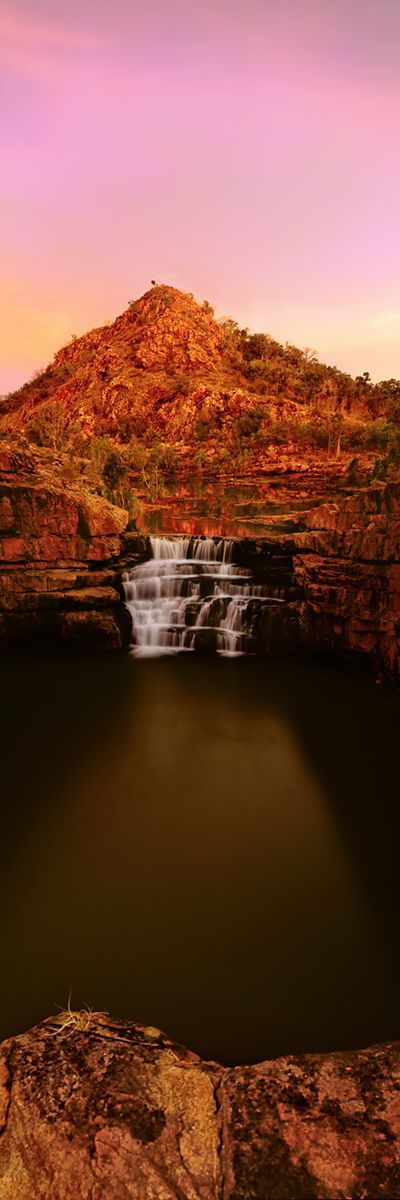 The cooling waters of Bell Gorge at dusk. Kimberlys, King Leopold Range, Western Australia