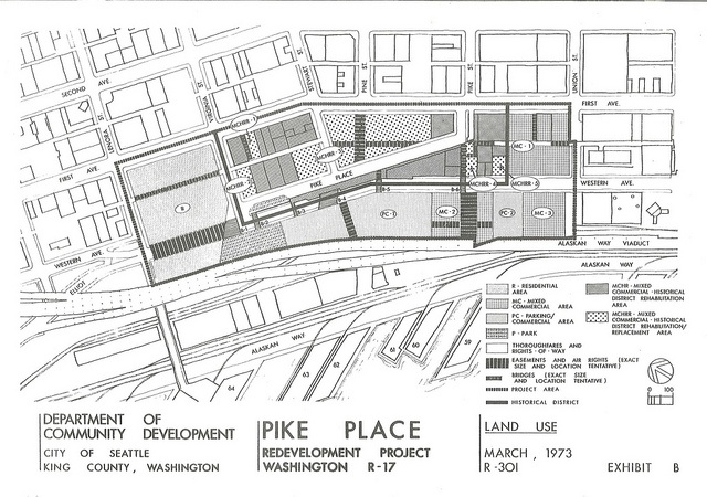 Proposed plans for rehabilitated Pike Place Market, 1973